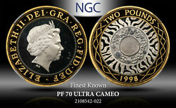 1998 Great Britain 2 Pounds Celtic Design Ngc Pf 70 Ultra Cameo Finest Known