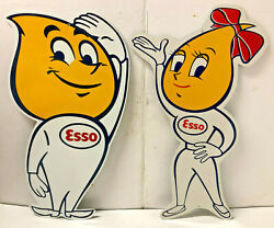 Two 2 Vintage 27 Large Esso Oil Drop Boy And Girl Tin Litho Metal Tacker Signs
