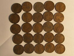 Roll 1918 S Lincoln Wheat Cents Penny In Good Or Better Condition 50 Coins