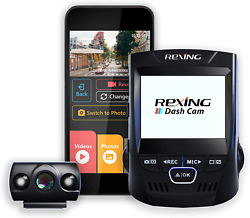 Rexing V1p 2.4 Lcd Fhd 1080p Wi-fi 170 Degree Wide Angle Dual Channel Dashboard