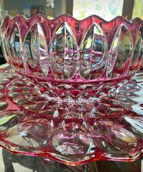 Ultra Rare Fab Cond Indiana Glass Ruby Flashed Punch Bowl Set 1007 + 12 Cups