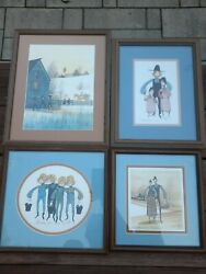 P Buckley Moss Signed Matted Framed Amish Etc Lot Of 4 Prints