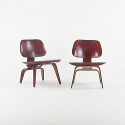 Pair Of C. 1953 Herman Miller Eames Lcw Lounge Chair Wood Refinished Red Aniline