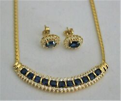 Blue Sapphire And Diamonds 14k Yellow Gold Necklace And Earrings Set Gia Appraisal