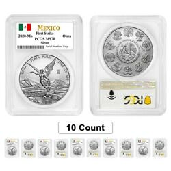 Lot Of 10 - 2021 1 Oz Mexican Silver Libertad Coin Pcgs Ms 70 First Strike