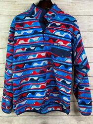 Mens Large Synchilla 1/4 Snap T Pullover Fleece Blue Striped Waves