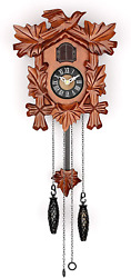 Small Cuckoo Clock With Hand Carved Birds, Weights And Swinging Pendulum Cherry
