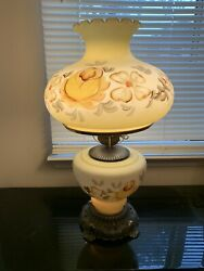 """Vtg 1972 Ef And Ef 24"""" Industries Gwtw Glass Gone With Wind Hurricane Lamp 3 Way"""