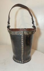 Rare Antique 1700and039s Handmade Copper Riveted Leather English Fire Fighter Bucket