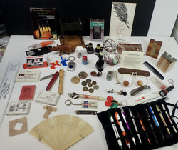 Vintage Junk Drawer Lot Collectibles Coins Pens Knick Knacks Advertising Items