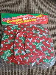 New 1980 Set Of 3 Vintage Strawberry Patch Cork Backed Hot Pads Old And Rare N