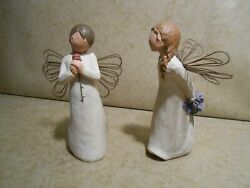Willow Tree Demdaco 2002 Figurines Thank You And Loving Angel Lot Of 2