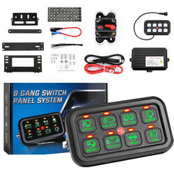 Ironwall S8 Gang Car Switch Panel On-off Led Green Back Light W/sensor Up 1200w
