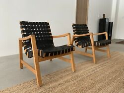 Jens Risom Lounge Chair Mid-century Modern Chairs A Pair Model 652 Webbing
