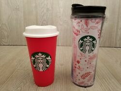 Starbucks Red White Christmas Woodland Tumbler Lid Rare + 2013 Red Plastic Cup