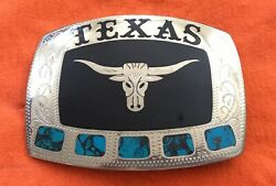 Texas Longhorn Johnson Held Turquoise Inlay Handcrafted Lone Star Belt Buckle