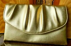Gold Clutch Purse 9 3 4quot; x 5 3 4quot; Not sure of material: Faux Leather or Leather $9.99