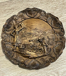 Vintage Carved Wood Resin Wall Plaque Plate Grape Harvest Wine Germany