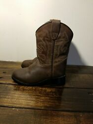 MASTERSON Boot Co Cowboy Boots Brown Leather GirlsSize 5 Cowgirl Western Ranch $20.00