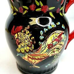 April Cornell Rooster Coffee Tea Mug Cup Black Red Fluted Rim Chicken Certified