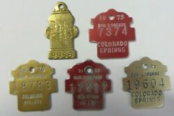 Vintage 1970and039s Lot Dog Tag License Tax Registration Colorado Springs Exonumia
