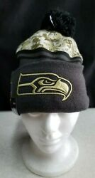 New Era Pompom Beanie Nfl Seattle Seahawks Salute To Service New With Tag