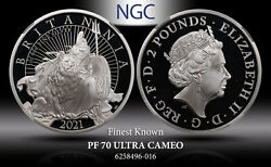 2021 G.brtain Silver 2pounds Britannia With Lion Ngc Pf70 Ultracam Finest Known