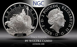 2021 G.brtain Silver 2pounds Britannia With Lion Ngc Pf70 Ultracam Finest Known.