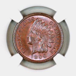 1894 Ms66 Bn Ngc Indian Head Penny Premium Quality Superb Eye-appeal