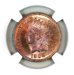 1908 Ms66 Rb Ngc Indian Head Penny Premium Quality Superb Eye-appeal