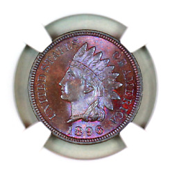 1896 Ms65 Bn Ngc Indian Head Penny Premium Quality Monster Toning