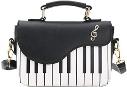 WILDFINDING Piano Music Notes PU Leather Shoulder Tote Bag Purse Crossbody for $24.11