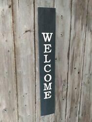 Wood Porch Sign Welcome Front Door Vertical White Farmhouse Handmade 33