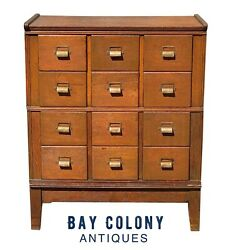 20th C Antique Tiger Oak Yawman And Erbe Arts And Crafts 12 Drawer File Cabinet