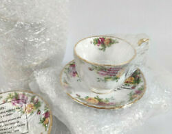 New - Set Of 4 Royal Albert Old Country Roses Tea Cups And Saucers Set