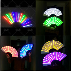 Rechargeable Led Light Chinese Hand Fans Held Folding Fan Dj Party Costume Props