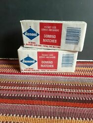 Pack Of 2 Cases Of Ten Boxes Diamond Domino Matches Red White Tip Made In Usa