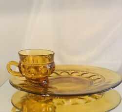 Vintage Indiana Glass Colony Dark Amber Kings Crown Snack Plates/cups Set Of 4