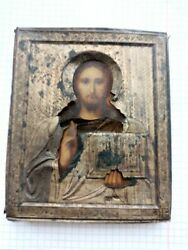 19th Antique Imperial Russian Sterling Silver 84 Christian Icon Oil Savior Lord