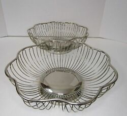 Brass Plated Wire Bread Baskets With Scalloped Edges Decor Set Of Two Vintage