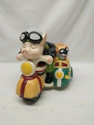 Cookie Jar Pig On Motorcycle W French Bulldog In Side Car By Holiday Times Used