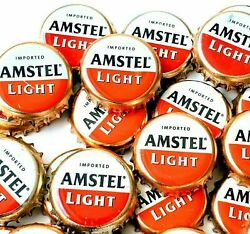 100 Amstel Light Beer Bottle Caps Red And White Imported Beer Crown Caps