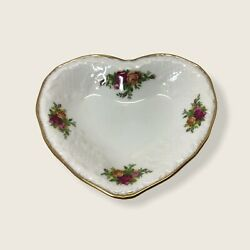 Vintage Royal Albert Old Country Roses Heart Shaped Trinket Ring Butter Dish