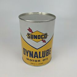 Sunoco Dynalube Sae 10w Hd 1 Quart Oil Can 1960 - Empty And No Holes Vintage Usa 1