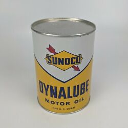 Sunoco Dynalube Sae 10w Hd 1 Quart Oil Can 1960 - Empty And No Holes Vintage Usa 2