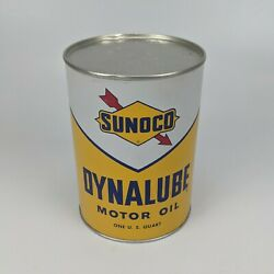 Sunoco Dynalube Sae 10w Hd 1 Quart Oil Can 1960 - Full Nos Vintage Usa 4