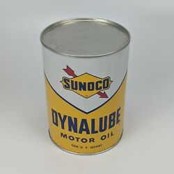 Sunoco Dynalube Sae 10w Hd 1 Quart Oil Can 1960 - Full Nos Vintage Usa 6