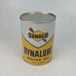 Sunoco Dynalube Sae 10w Hd 1 Quart Oil Can 1960 - Partial Full Vintage Usa 7