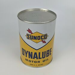 Sunoco Dynalube Sae 10w Hd 1 Quart Oil Can 1960 - Partial Full Vintage Usa 8
