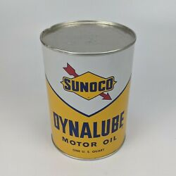 Sunoco Dynalube Sae 10w Hd 1 Quart Oil Can 1960 - Partial Full Vintage Usa 9